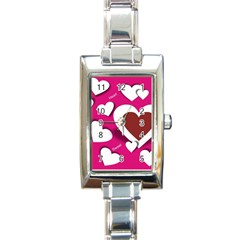 Valentine Hearts  Rectangular Italian Charm Watch