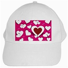 Valentine Hearts  White Baseball Cap