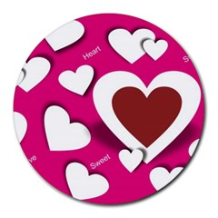 Valentine Hearts  8  Mouse Pad (Round)