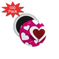 Valentine Hearts  1.75  Button Magnet (100 pack)