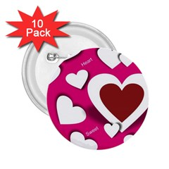 Valentine Hearts  2.25  Button (10 pack)