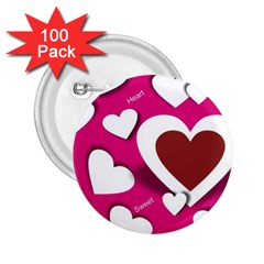 Valentine Hearts  2 25  Button (100 Pack)