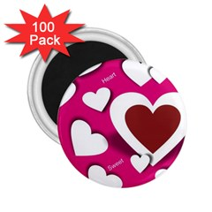 Valentine Hearts  2.25  Button Magnet (100 pack)