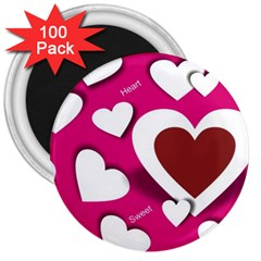 Valentine Hearts  3  Button Magnet (100 Pack)