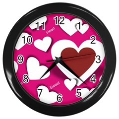 Valentine Hearts  Wall Clock (Black)
