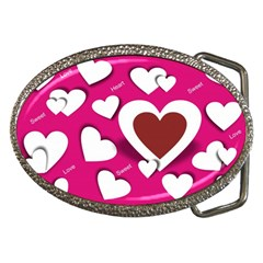 Valentine Hearts  Belt Buckle (oval)
