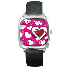 Valentine Hearts  Square Leather Watch
