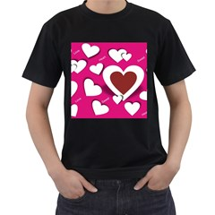 Valentine Hearts  Men s Two Sided T-shirt (Black)