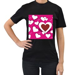 Valentine Hearts  Women s Two Sided T-shirt (Black)
