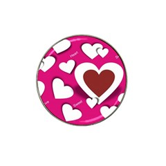 Valentine Hearts  Golf Ball Marker 4 Pack (for Hat Clip)