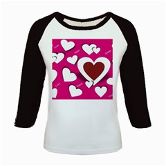 Valentine Hearts  Kids Long Cap Sleeve T-Shirt