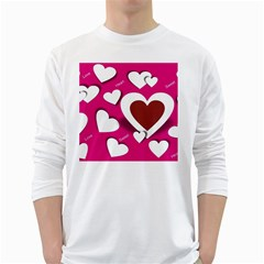 Valentine Hearts  Men s Long Sleeve T-shirt (White)