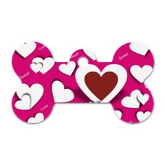 Valentine Hearts  Dog Tag Bone (two Sided)