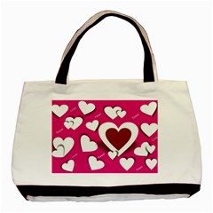 Valentine Hearts  Twin-sided Black Tote Bag