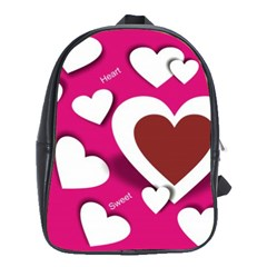 Valentine Hearts  School Bag (Large)