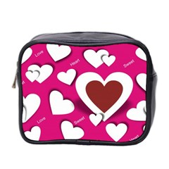 Valentine Hearts  Mini Travel Toiletry Bag (Two Sides)