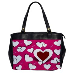 Valentine Hearts  Oversize Office Handbag (One Side)