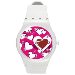 Valentine Hearts  Plastic Sport Watch (Medium)
