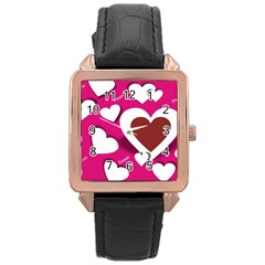Valentine Hearts  Rose Gold Leather Watch