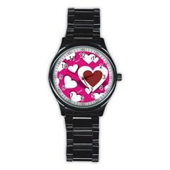Valentine Hearts  Sport Metal Watch (black)