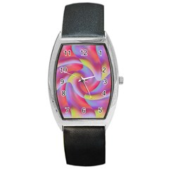 Colored Swirls Tonneau Leather Watch