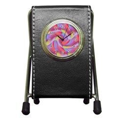 Colored Swirls Stationery Holder Clock