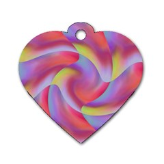 Colored Swirls Dog Tag Heart (one Sided)