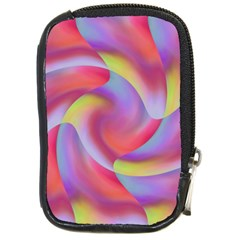Colored Swirls Compact Camera Leather Case