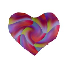 Colored Swirls 16  Premium Heart Shape Cushion
