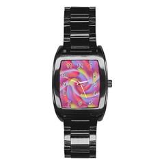 Colored Swirls Stainless Steel Barrel Watch