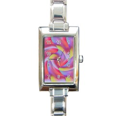 Colored Swirls Rectangular Italian Charm Watch