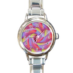 Colored Swirls Round Italian Charm Watch