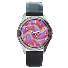Colored Swirls Round Leather Watch (silver Rim)