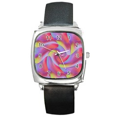 Colored Swirls Square Leather Watch