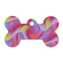 Colored Swirls Dog Tag Bone (One Sided)