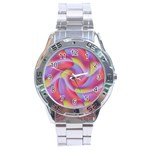 Colored Swirls Stainless Steel Watch Front
