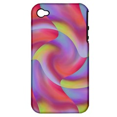 Colored Swirls Apple iPhone 4/4S Hardshell Case (PC+Silicone)