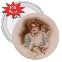 Vintage Valentine 3  Button (100 pack)