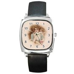Vintage Valentine Square Leather Watch
