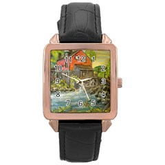 Daniels Mill   Ave Hurley   Rose Gold Leather Watch