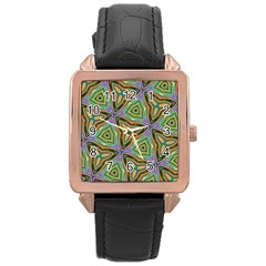 Elegant Retro Art Rose Gold Leather Watch