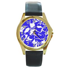 Swirl Round Leather Watch (Gold Rim)
