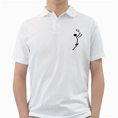 Cowcow Football Black Men s Polo Shirt (White)