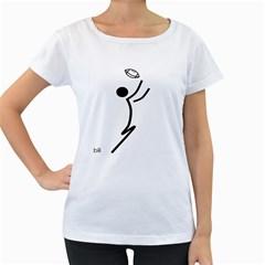 Cowcow Football Black Women s Maternity T-shirt (White)