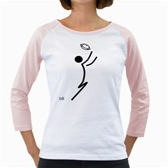 Cowcow Football Black Women s Long Cap Sleeve T-Shirt (White)