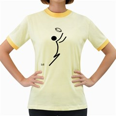 Cowcow Football Black Women s Ringer T Shirt (colored)
