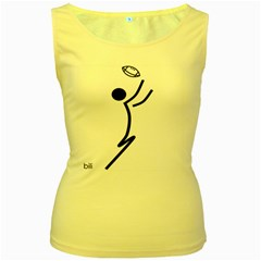 Cowcow Football Black Women s Tank Top (Yellow)