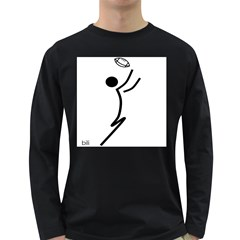Cowcow Football Black Men s Long Sleeve T Shirt (dark Colored)