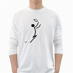 Cowcow Football Black Men s Long Sleeve T-shirt (White)