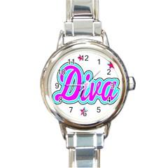 Pink Diva Round Italian Charm Watch